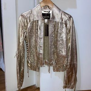 Metallic Gold Leather Jacket